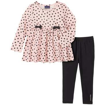 Calvin Klein Baby Girl Long Sleeve Polka Dot Tunic With Solid Legging Set