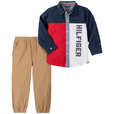 Tommy Hilfiger Baby Boy Long Sleeve Color Blocked Poplin Woven Shirt With Washed Jean Set