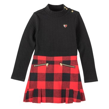Tommy Hilfiger Baby Girl Long Sleeve Mock Neck Top Plaid Skirt Bottom Dress