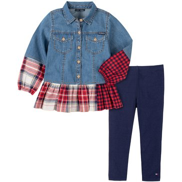 Tommy Hilfiger Baby Girl Long Sleeve Denim Tunic Plaid Hem With Solid Legging Set
