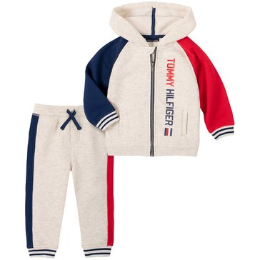 Tommy Hilfiger Baby Boys' Heathered Color Blocked Full-Zip Hooded Fleece With Jogger Set