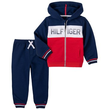 Tommy Hilfiger Baby Boys' Color Blocked Full-Zip Hooded Fleece With Jogger Set