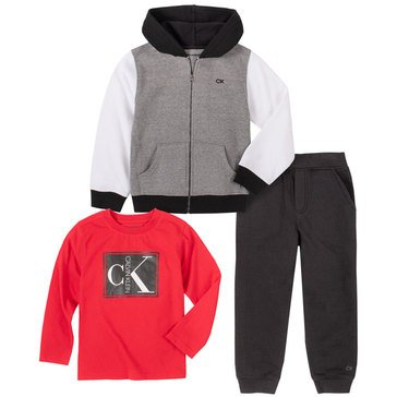 Calvin Klein Baby Boys' Zip Front Hoody With Jogger 3-Piece Set