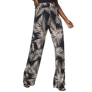 White House Black Market Women's Island Palm Print Matte Jersey Pants