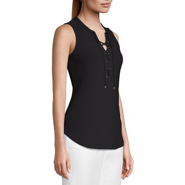 White House Black Market Women's Lace Up Jersey Top