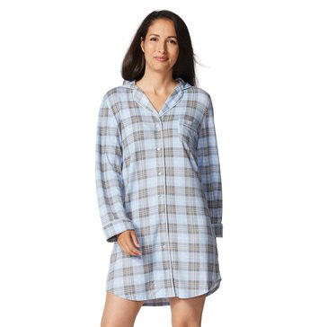 Yarn & Sea Women's Hacci Notch Collar Nightshirt