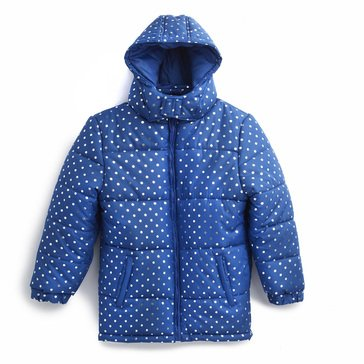 Liberty & Valor Big Girls' Hooded Foil Dots Puffer Jacket
