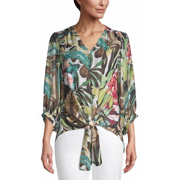 Chicos Women's Floral V-Neck Blouse