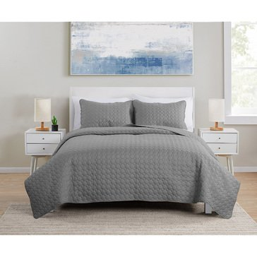 Waffle Weave 3-Piece Embossed Quilt Set