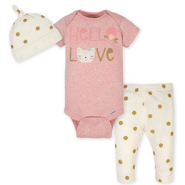 Gerber Organic Baby Girls' Knotted Cap, Onesie & Pants Set