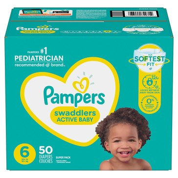 Pampers Swaddlers Super-Pack 50-Count Diapers, Size 6