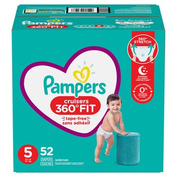 Pampers Cruisers 360 Super-Pack 52-Count Diapers, Size 5