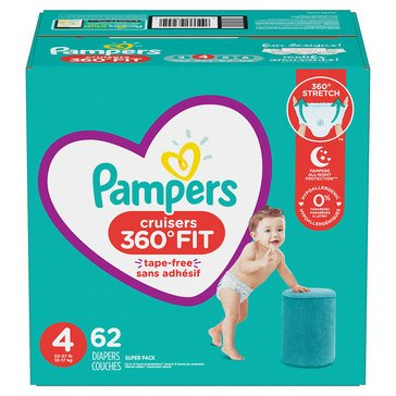 Pampers Cruisers 360 Super-Pack 62-Count Diapers, Size 4