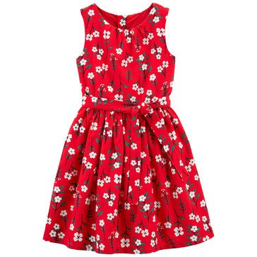 Carters Little Girls' Sleeveless Front Bow Floral Holiday Dress