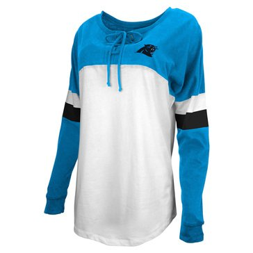 New Era Women's NFL Panthers Brushed Long Sleeve Tee With Lacing