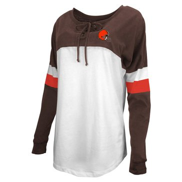 New Era Women's NFL Browns Brushed Long Sleeve Tee With Lacing