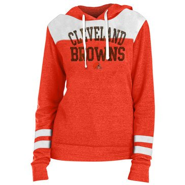 New Era Women's NFL Browns Tri-Blend Fleece Tri-Blend Hoodie With Contrast Yokes