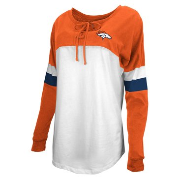 New Era Women's NFL Broncos Brushed Long Sleeve Tee With Lacing