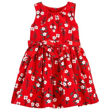 Carter's Toddler Girls' Holiday Front Bow Floral Sleeveless Dress