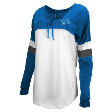 New Era Women's NFL Lions Brushed Baby Jersey Long Sleeve Crew With Lacing