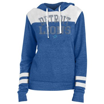 New Era Women's NFL Lions Tri Blend Fleece Pullover Hoodie With Contrast Yokes