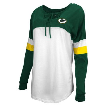 New Era Women's NFL Packers Brushed Baby Jersey Long Sleeve Crew With Lacing
