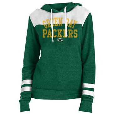 New Era Women's NFL Packers Tri Blend Fleece Pullover Hoodie With Contrast Yokes