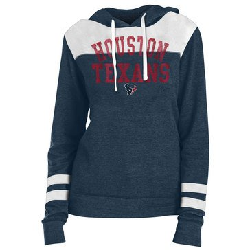 New Era Women's NFL Texans Tri Blend Fleece Pullover Hoodie With Contrast Yokes