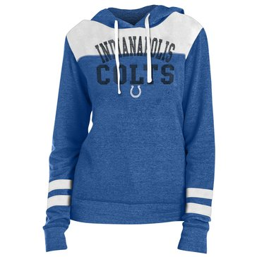 New Era Women's NFL Colts Tri Blend Fleece Pullover Hoodie With Contrast Yokes