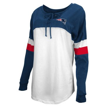 New Era Women's NFL Patriots Brushed Baby Jersey Long Sleeve Crew With Lacing
