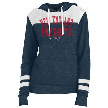 New Era Women's NFL Patriots Tri Blend Fleece Pullover Hoodie With Contrast Yokes