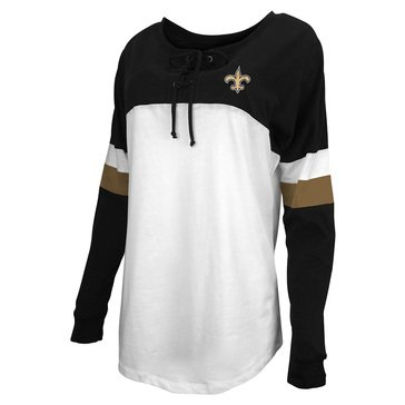 New Era Women's NFL Saints Brushed Baby Jersey Long Sleeve Crew With Lacing