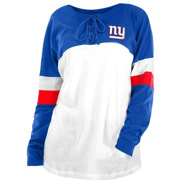 New Era Women's NFL Giants Brushed Baby Jersey Long Sleeve Crew With Lacing