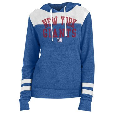 New Era Women's NFL Giants Tri Blend Fleece Pullover Hoodie With Contrast Yokes
