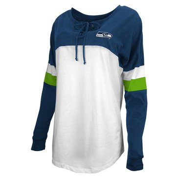 New Era Women's NFL Seahawks Brushed Baby Jersey Laced Long Sleeve Tee