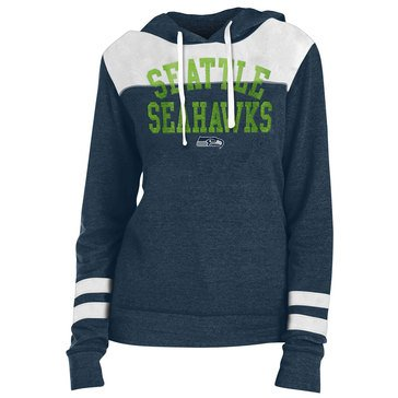 New Era Women's NFL Seahawks Tri-Blend Fleece Hoodie With Contrast Yokes