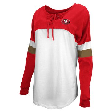 New Era Women's NFL 49ers Brushed Baby Jersey Laced Long Sleeve Tee