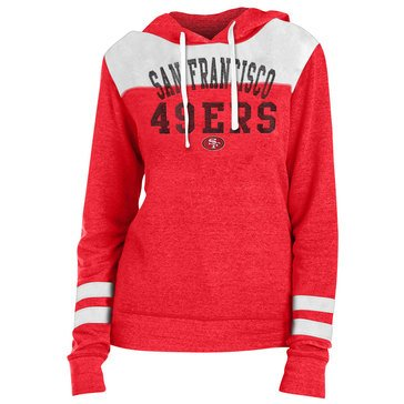 New Era Women's NFL 49ers Tri-Blend Fleece Hoodie With Contrast Yokes