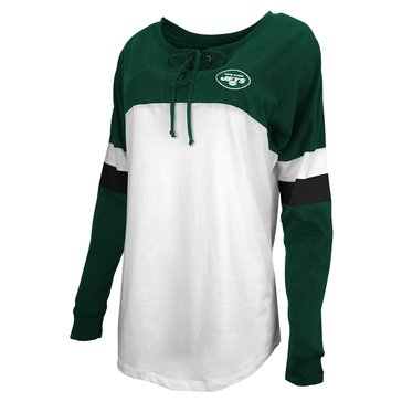 New Era Women's NFL Jets Brushed Baby Jersey Laced Long Sleeve Tee
