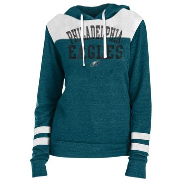 New Era Women's NFL Eagles Tri-Blend Fleece Hoodie With Contrast Yokes