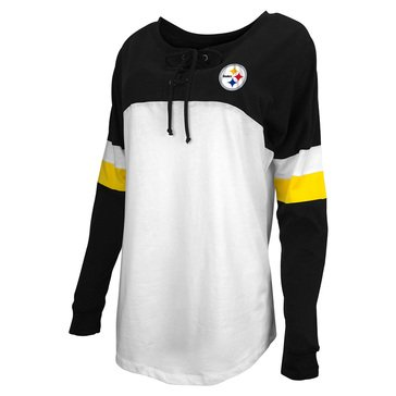 New Era Women's NFL Steelers Brushed Long Sleeve Tee with Lacing