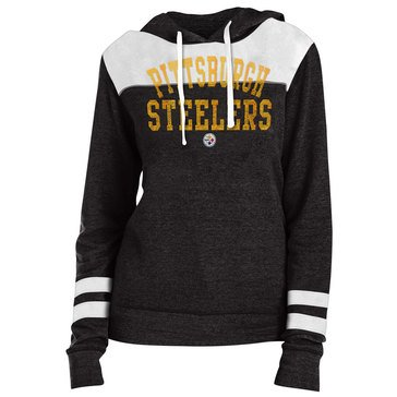 New Era Women's NFL Steelers Tri-Blend Fleece Hoodie With Contrast Yokes
