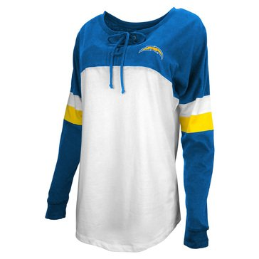 New Era Women's NFL Chargers Brushed Long Sleeve Tee with Lacing