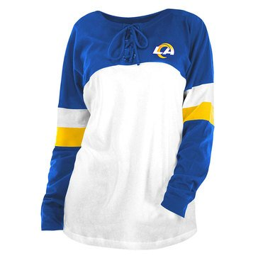 New Era Women's NFL Rams BrushedLong Sleeve Tee with Lacing
