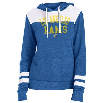 New Era Women's NFL Rams Tri Blend Fleece Tee Hoodie With Contrast Yokes