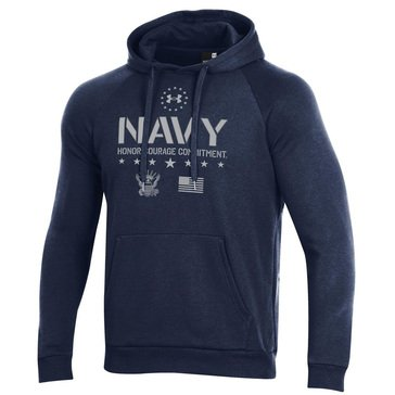Under Armour Mens Navy Eagle Flag and Stars All Day Fleece Hoodie