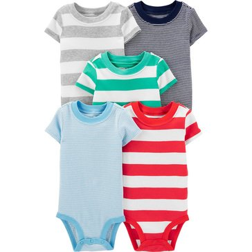 Carter's Baby Boys' Short Sleeve Stripe 5 Pack Bodysuit