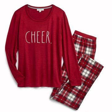Rae Dunn Men's Hacci Cheer Holiday Family Pajamas