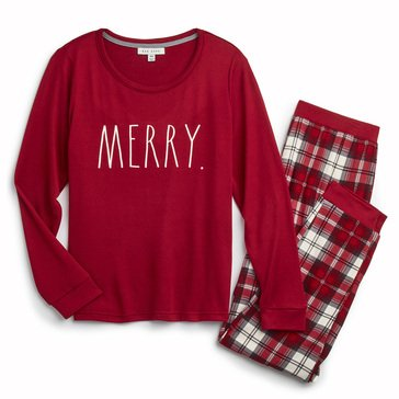 Rae Dunn Women's Hacci Merry Holiday Family Pajamas