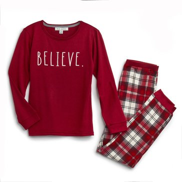Rae Dunn Big Kids' Hacci Believe Holiday Family Pajamas